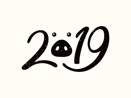 2019 chinese new year greeting card with black numbers pig snout isolated objects on