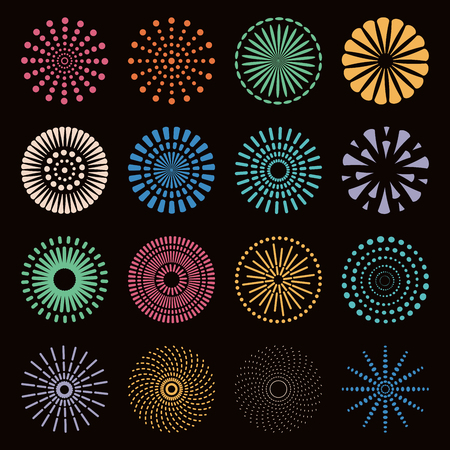 Set of different fireworks in bright colors. Isolated objects on black background. Vector illustration. Flat style design. Concept for holiday, festival, celebration, festive decor element.