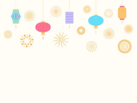 Fondo de año nuevo chino con linternas y fuegos artificiales. Objetos aislados sobre fondo blanco. Ilustración de vector. Diseño de estilo plano. Concepto de banner de vacaciones, tarjeta de felicitación, elemento decorativo.