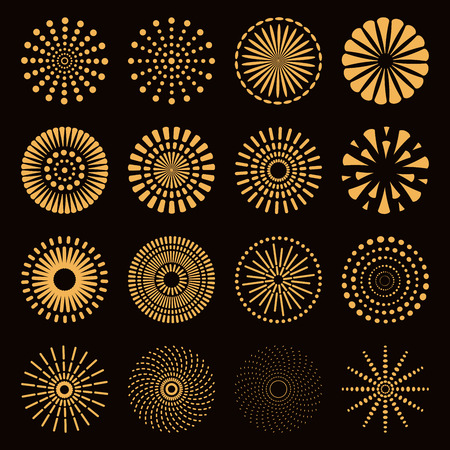 Set of different golden fireworks. Isolated objects on black background. Vector illustration. Flat style design. Concept for holiday, festival, celebration, festive decor element. Ilustração