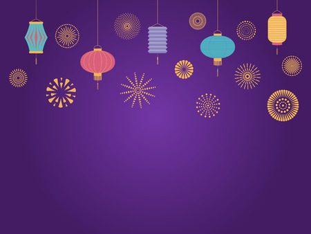 Chinese New Year background with lanterns and fireworks. Isolated objects on dark background. Vector illustration. Flat style design. Concept for holiday banner, greeting card, decorative element.