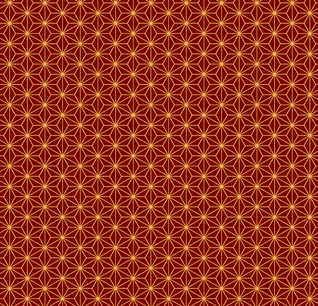 Chinese New Year seamless geometric pattern, golden on red. Vector illustration. Flat style design. Concept for holiday banner, greeting card, decorative element, textile print, wrapping paper. Ilustração