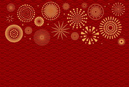 Fondo de año nuevo chino con fuegos artificiales dorados en rojo patrón tradicional. Ilustración de vector. Diseño de estilo plano. Concepto de banner de vacaciones, tarjeta de felicitación, elemento decorativo.