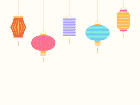 Chinese New Year background with lanterns. Isolated objects on white background. Vector illustration. Flat style design. Concept for holiday banner, greeting card, decorative element. Illustration