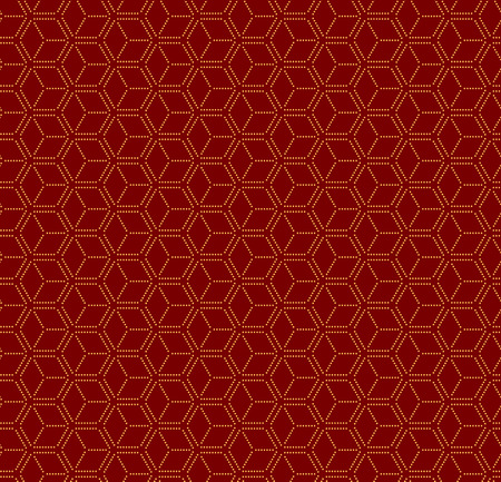 Chinese New Year seamless geometric pattern, golden on red. Vector illustration. Flat style design. Concept for holiday banner, greeting card, decorative element, textile print, wrapping paper. Vectores