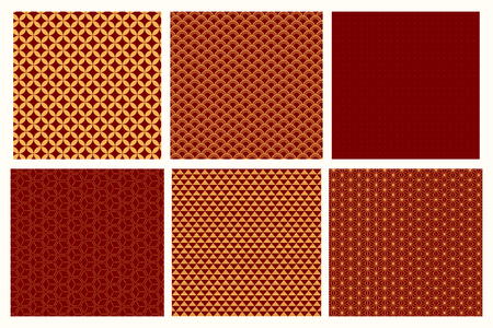 Set of Chinese New Year seamless geometric patterns, golden on red. Vector illustration. Flat style design. Concept for holiday banner, greeting card, decorative element, textile print, wrapping paper