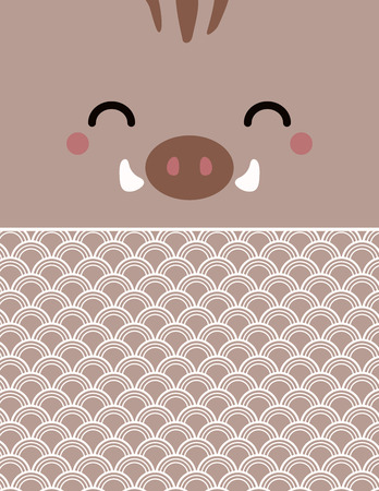 2019 New Year greeting card with kawaii wild boar face, traditional ocean waves pattern. Vector illustration. Flat style design. Concept for Japanese holiday banner, decorative element. Illustration
