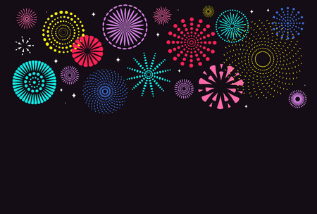 Chinese New Year background with bright fireworks of different colors on black. Vector illustration. Flat style design. Concept for holiday banner, greeting card, decorative element.