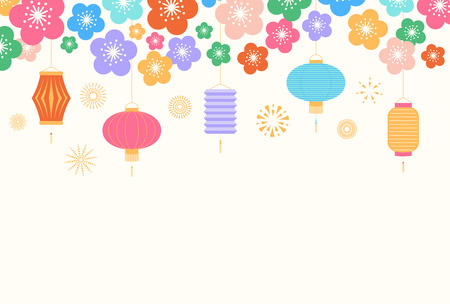 Chinese New Year background with lanterns and flowers, on white. Vector illustration. Flat style design. Concept for holiday banner, greeting card, decorative element. Illustration