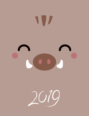 2019 New Year greeting card with kawaii wild boar face, numbers. Vector illustration. Flat style design. Concept for Japanese holiday banner, decorative element.