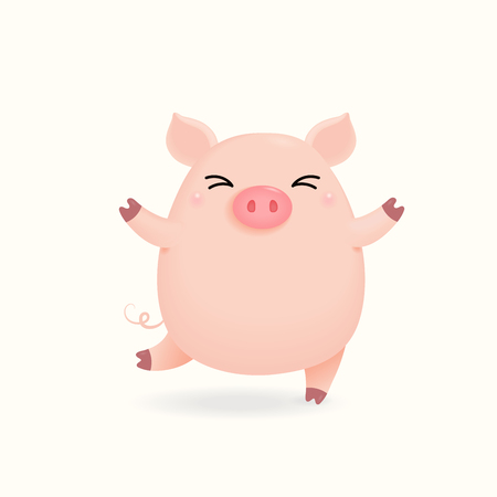 Hand drawn vector illustration of a cute happy little pig. Isolated objects on white background. Design concept for Chinese New Year greeting card, holiday banner, decorative element.