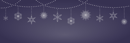Christmas background with garlands and hanging snowflakes, white on dark blue. Vector illustration. Flat style design. Concept for winter holiday banner, greeting card, decorative element.