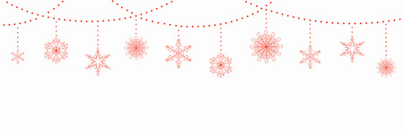 Christmas background with garlands and hanging snowflakes, on white. Vector illustration. Flat style design. Concept for winter holiday banner, greeting card, decorative element. Archivio Fotografico - 113000199