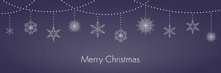 Fondo de Navidad con guirnaldas y copos de nieve colgantes, tipografía, blanco sobre azul oscuro. Ilustración de vector. Diseño de estilo plano. Concepto de banner de vacaciones de invierno, tarjeta de felicitación, elemento decorativo.
