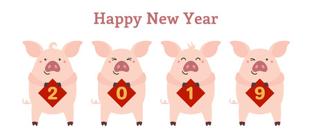 2019 Chinese New Year greeting card with cute pigs holding cards with numbers, text. Vector illustration. Isolated objects on white. Flat style design. Concept for holiday banner, decorative element.