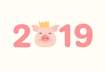 2019 Chinese New Year greeting card with cute pig face in a crown, numbers. Vector illustration. Isolated objects on white background. Flat style design. Concept for holiday banner, decorative element Illustration