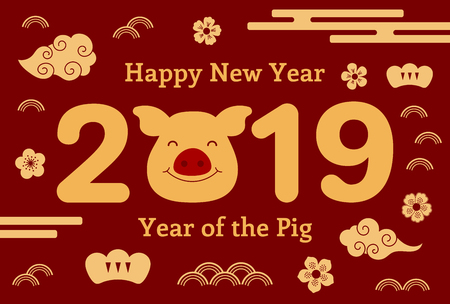 2019 Chinese New Year greeting card with cute pig, clouds, flowers, numbers, text, gold on red. Vector illustration. Isolated objects. Flat style design. Concept for holiday banner, decorative element Vettoriali