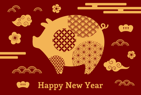 2019 Chinese New Year greeting card with cute pig, clouds, flowers, text, gold on red. Vector illustration. Isolated objects. Flat style design. Concept for holiday banner, decorative element.