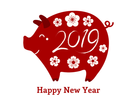 2019 Chinese New Year greeting card with cute pig, flowers, numbers, text, red on white. Vector illustration. Flat style design. Concept for holiday banner, decorative element.