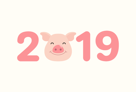 2019 Chinese New Year greeting card with cute pig face, numbers. Vector illustration. Isolated objects on white background. Flat style design. Concept for holiday banner, decorative element.