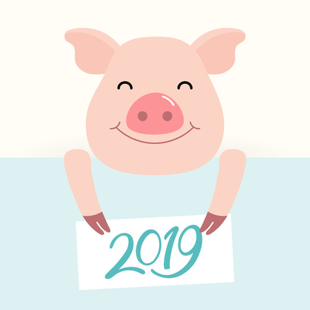 2019 Chinese New Year greeting card with cute pig holding card with numbers. Vector illustration. Flat style design. Concept for holiday banner, decorative element. Ilustração Vetorial
