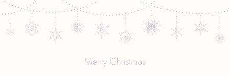 Christmas background with garlands and hanging snowflakes, typography, on white. Vector illustration. Flat style design. Concept for winter holiday banner, greeting card, decorative element. Illustration