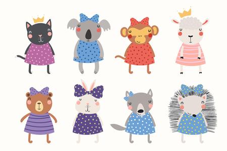 Gran conjunto de lindos animales divertidos princesas en coronas, cintas, vestidos. Objetos aislados sobre fondo blanco. Ilustración de vector dibujado a mano. Diseño plano de estilo escandinavo. Concepto para niños imprimir.