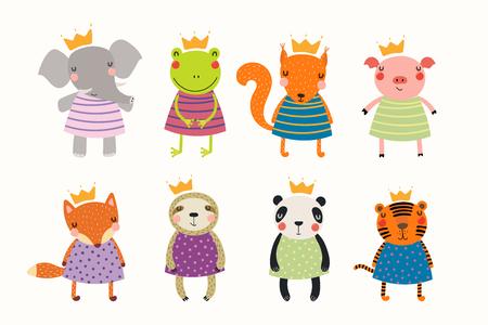 Gran conjunto de lindos animales divertidos princesas en coronas y vestidos. Objetos aislados sobre fondo blanco. Ilustración de vector dibujado a mano. Diseño plano de estilo escandinavo. Concepto para niños imprimir. Ilustración de vector