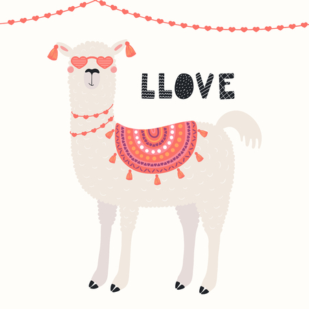 Hand drawn Valentines day card with cute funny llama in heart shaped glasses, text Llove. Vector illustration. Scandinavian style flat design. Concept for celebration, invite, children print. Illustration