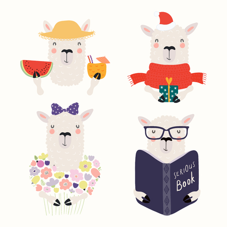 Set of cute funny different llamas, summer, Christmas, with flowers, book. Isolated objects on white background. Hand drawn vector illustration. Scandinavian style flat design. Concept for kids print.
