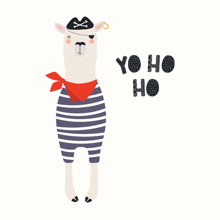 Hand drawn vector illustration with funny llama pirate in a tricorn hat, with eye patch, text Yo ho ho. Isolated objects on white background. Scandinavian style flat design. Concept for children print
