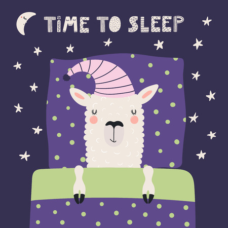 Hand drawn vector illustration with cute sleeping llama in a nightcap, pillow, blanket, moon, stars, text Time to sleep. Scandinavian style flat design. Concept for children print. Illustration