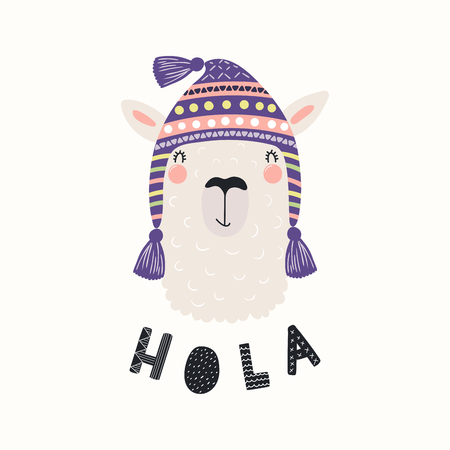 Hand drawn vector illustration with funny llama in a traditional Peru hat, with Spanish text Hola, Hello. Isolated objects on white background. Scandinavian style flat design. Concept children print.