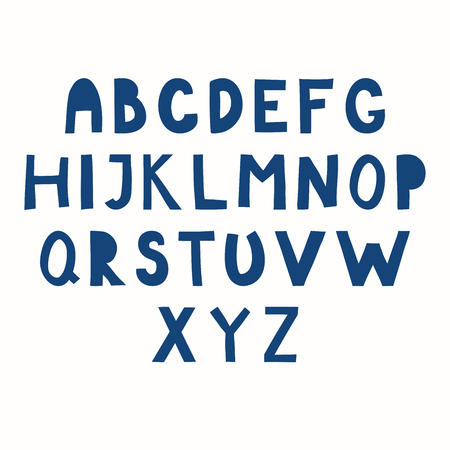 Hand drawn Latin alphabet in paper cut style. Make your own lettering. Isolated letters, blue on white background. Vector illustration. Design concept for typographic poster.  イラスト・ベクター素材