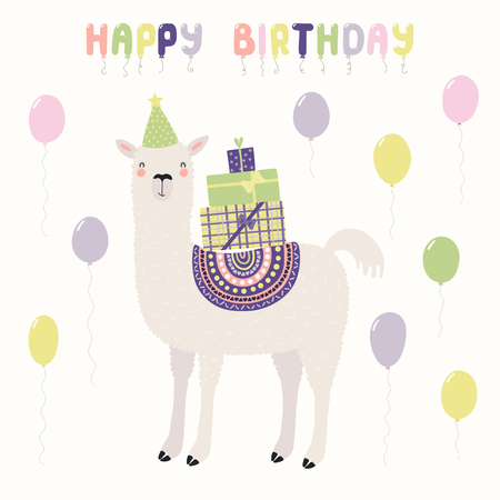 Hand drawn card with cute funny llama in a party hat, carrying presents, balloons, text Happy birthday. Vector illustration. Scandinavian style flat design. Concept for invite, children print.