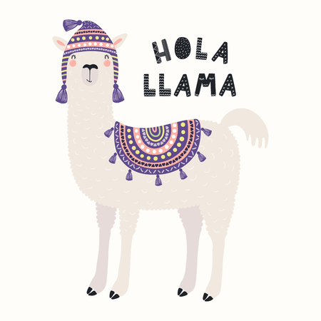 Hand drawn vector illustration with funny llama in a traditional Peru hat, with Spanish text Hola, Hello. Isolated objects on white background. Scandinavian style flat design. Concept children print. Standard-Bild - 117371632