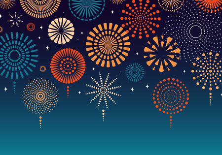 Colorful fireworks on dark background. Vector illustration. Flat style design. Concept for holiday banner, poster, flyer, greeting card, decorative element.