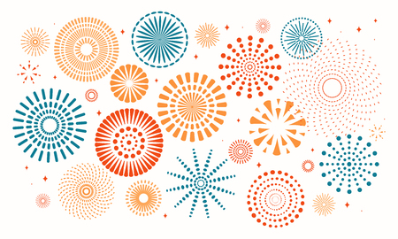 Colorful fireworks on white background. Vector illustration. Flat style design. Concept for holiday banner, poster, flyer, greeting card, decorative element. Çizim