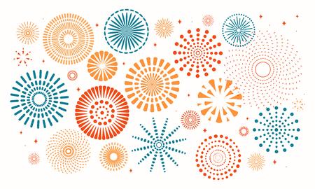 Kleurrijk vuurwerk op witte achtergrond. Vector illustratie. Platte stijl ontwerp. Concept voor vakantiebanner, poster, flyer, wenskaart, decoratief element.
