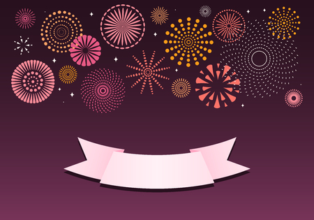 Colorful fireworks on dark background, with space for text on a ribbon. Vector illustration. Flat style design. Concept for holiday banner, poster, flyer, greeting card, decorative element. Иллюстрация