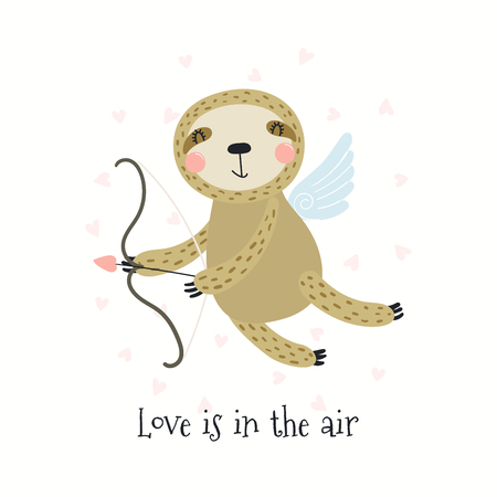 Hand drawn Valentines day card with cute funny sloth Cupid, text Love is in the air. Isolated objects on white background. Vector illustration. Scandinavian style flat design. Concept children print.