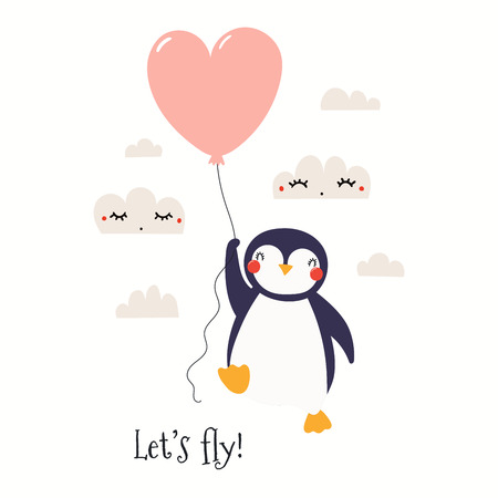 Hand drawn Valentines day card with cute funny penguin flying on a balloon, text Lets fly. Isolated objects on white background. Vector illustration. Scandinavian style flat design. Concept kids print