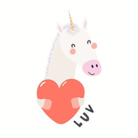 Hand drawn Valentines day card with cute funny unicorn holding heart, text Luv. Isolated objects on white background. Vector illustration. Scandinavian style flat design. Concept for children print. Illustration