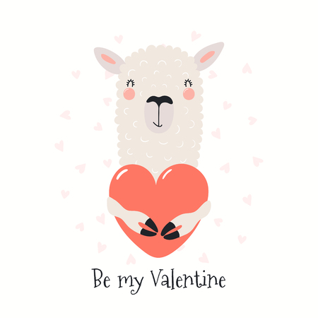 Hand drawn card with cute funny llama holding heart, text Be my Valentine. Isolated objects on white background. Vector illustration. Scandinavian style flat design. Concept for children print.