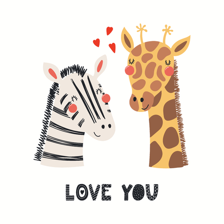 Hand drawn Valentines day card with cute funny zebra, giraffe, hearts, text Love you. Isolated objects on white background. Vector illustration. Scandinavian style flat design. Concept children print.