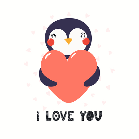 Hand drawn Valentines day card with cute funny penguin holding heart, text I love you. Isolated objects on white background. Vector illustration. Scandinavian style flat design. Concept children print Иллюстрация