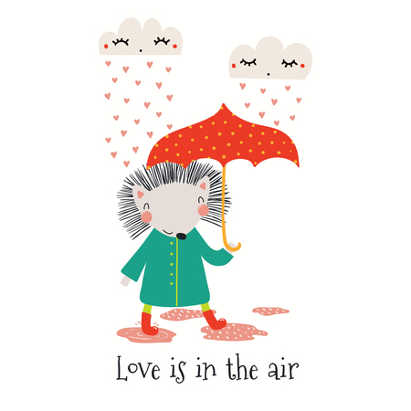 Hand drawn Valentines day card with cute funny hedgehog, clouds, hearts, text Love is in the air. Isolated objects on white. Vector illustration. Scandinavian style flat design. Concept for kids print