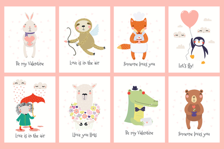 Conjunto de tarjetas del día de San Valentín con lindos animales divertidos, corazones, texto. Ilustración de vector dibujado a mano. Diseño plano de estilo escandinavo. Concepto para niños imprimir.