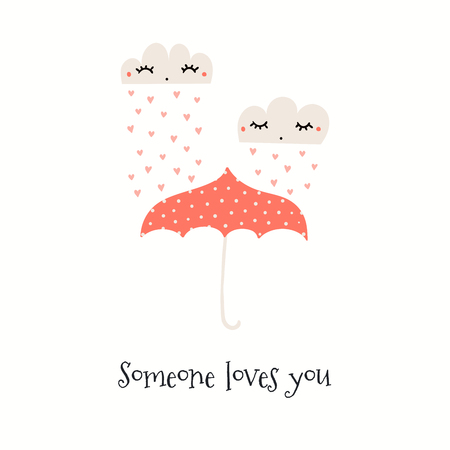 Hand drawn Valentines day card with cute clouds, hearts, umbrella, text Someone loves you. Isolated objects on white. Vector illustration. Scandinavian style flat design. Concept for kids print. Illustration