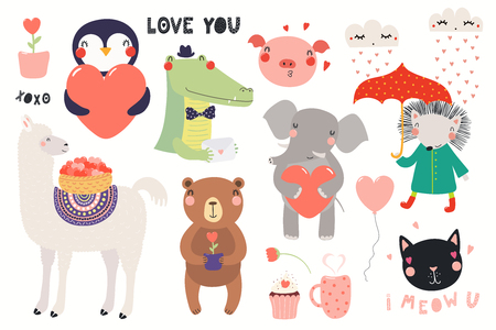 Big Valentines day set with cute funny animals, hearts, text. Isolated objects on white background. Hand drawn vector illustration. Scandinavian style flat design. Concept for card, children print. Illustration